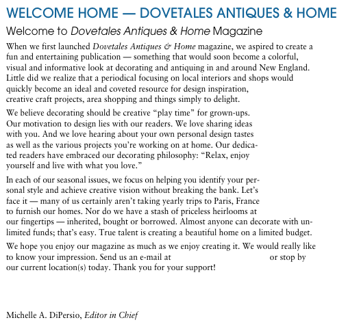 WELCOME HOME — DOVETALES ANTIQUES & HOME